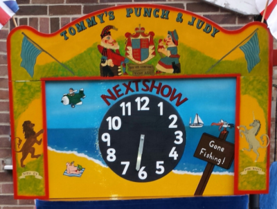 Mr Punch, Punch and Judy, puppet, puppet show, puppetry, Miraiker, Miraiker's World of Puppets, puppet maker, carved puppet, wooden puppet, Punch and Judy booth, puppet booth, aluminium booth, aluminium frame, proscenium, proscenium arch, next show clock