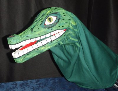 Mr Punch, Punch and Judy, puppet, puppet show, puppetry, Miraiker, Miraiker's World of Puppets, puppet maker, carved puppet, wooden puppet, crocodile puppet, light up crocodile puppet, snappy crocodile puppet