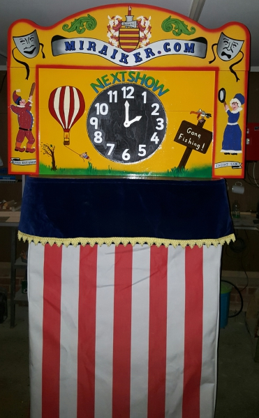 Mr Punch, Punch and Judy, puppet, puppet show, puppetry, Miraiker, Miraiker's World of Puppets, puppet maker, carved puppet, wooden puppet, Punch and Judy booth, puppet booth