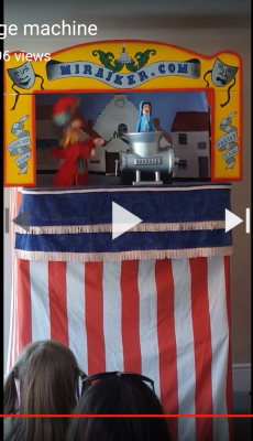 Mr Punch, Punch and Judy, puppet, puppet show, puppetry, Miraiker, Miraiker's World of Puppets, puppet maker, carved puppet, wooden puppet, Punch and Judy video, baby puppet, puppet video, sausage machine, sausage machine video