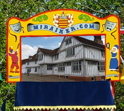 Mr Punch, Punch and Judy, puppet, puppet show, puppetry, Miraiker, Miraiker's World of Puppets, puppet maker, carved puppet, wooden puppet, Punch and Judy booth, puppet booth, aluminium booth, aluminium frame, scenery, background, proscenium, proscenium arch